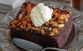 Chocolate and almond upside-down cake
