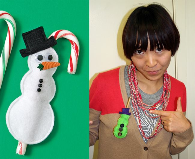 Candy cane cover snowman brooch christmas pinterest