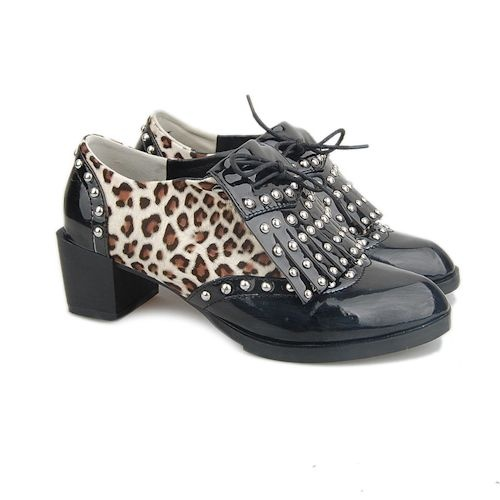 Black Patent Leather Animal Print Studded Gothic Punk Oxford Shoes