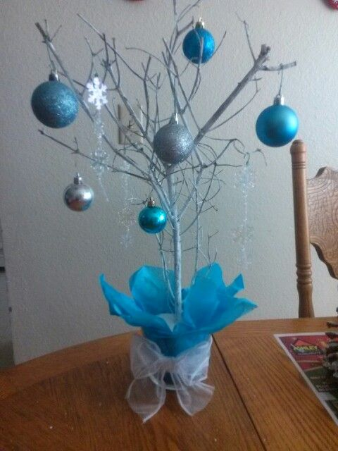 Winter wonderland centerpiece ideas from a branch from outside