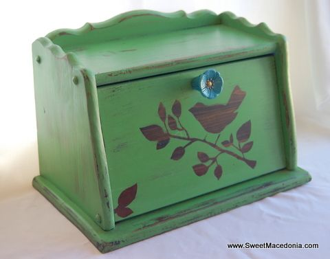 Bird wood-grain Silhouette Vintage Bread Box painted with Annie Sloan Antibes green chalk paint. Includes Anthropologie knob and AS Provence blue paint inside.