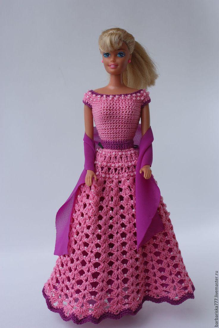 Вязание крючком платье для куклы барби со схемой