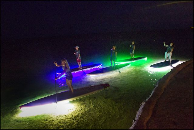 Paddleboarding by Moonlight with LED lights