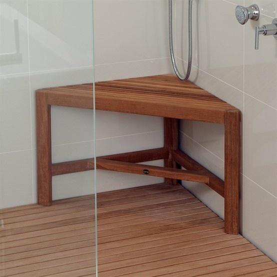 Teak Corner Shower Bench Spaces Bathrooms Pinterest