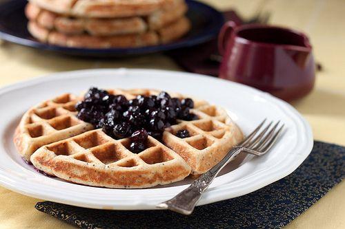 Lemon Poppy Seed Yogurt Waffles with Blueberry Syrup | Recipe