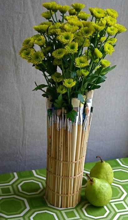 Writeclickscrapbook easy how to wrap an old jar in paintbrushes for a