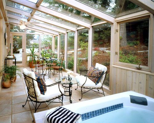 Hot tub in a sun room for the home pinterest - Cerramiento de madera ...