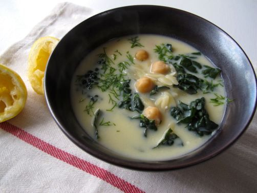 Avgolemono (Egg & Lemon) Soup. Greek soup with orzo pasta in a ...