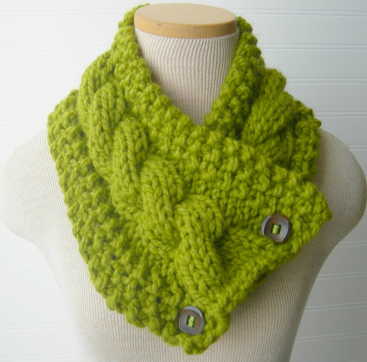 Knitted Cowl Pattern With Buttons : Lemongrass Chunky Knit Scarf, Button Cowl Neckwarmer