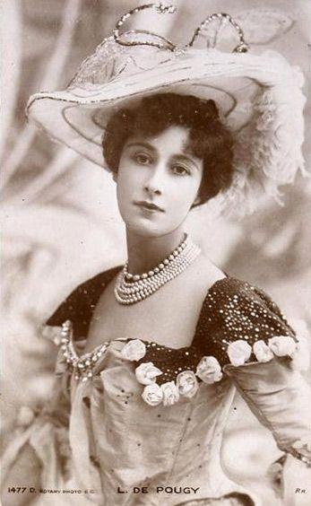 Liane de Pougy (1869-1959) - c. 1900 - Folies Bergères Dancer - Renowned as one of Paris's most beautiful and notorious courtesans - Postcard