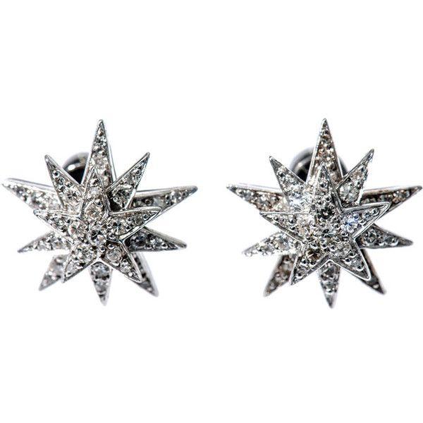Ileana Makri Diamond, gold & silver star earrings ($3,823) ❤ liked on Polyvore