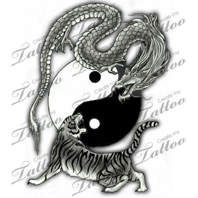 Эскизы дракона инь ян тату