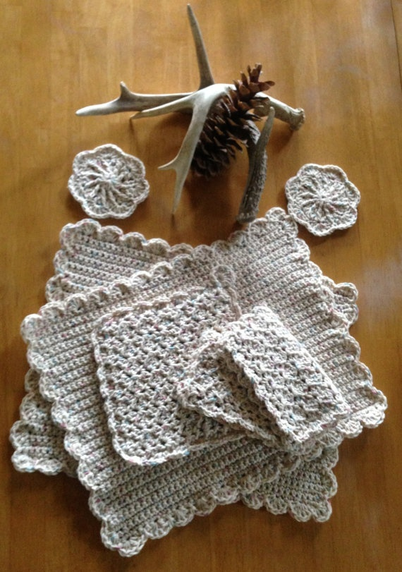 Crochet Placemats : Hand Crochet Placemat Dining Set by MontanaSoftWear on Etsy