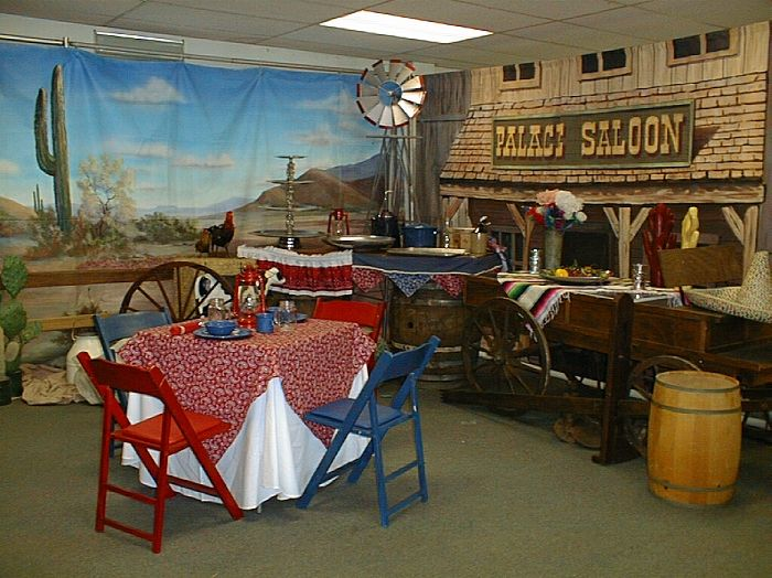 Western theme party decorating ideas bible school for Western decorations for home ideas