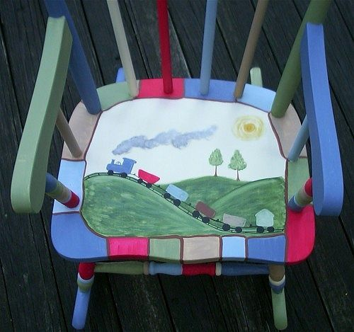 painted rocking chair ideas  CUSTOM Hand Painted Wood Childrens ...