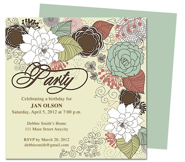 Maribella Birthday Party Invitation Templates, edit in Apple iWork ...