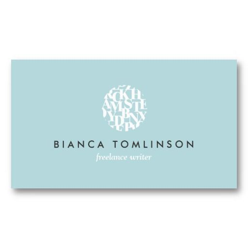 Modern letterform logo iv for authors and writers for Author business cards example
