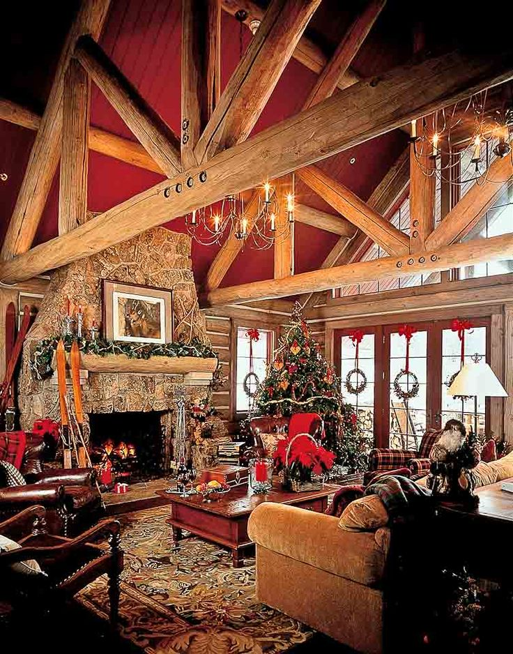 1386 Beautiful Log Home Great Room Dream Log Homes