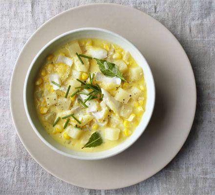 Smoked haddock & corn chowder recipe - Recipes - BBC Good Food