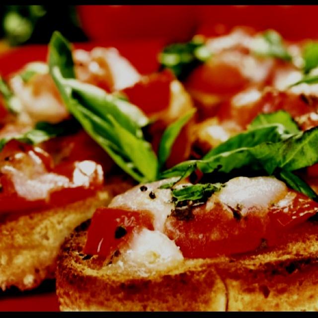 Bruschetta With Tomatoes, Mozzarella And Olives Recipe ...