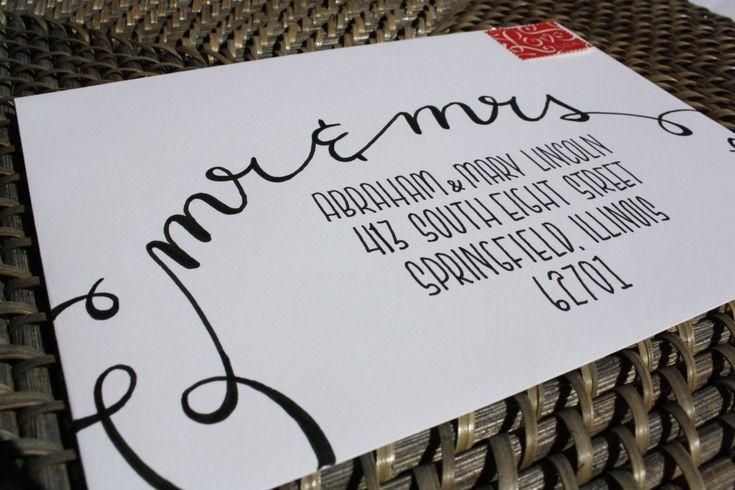 Calligraphy envelope addressingmr amp mrs handwritten custom addressing