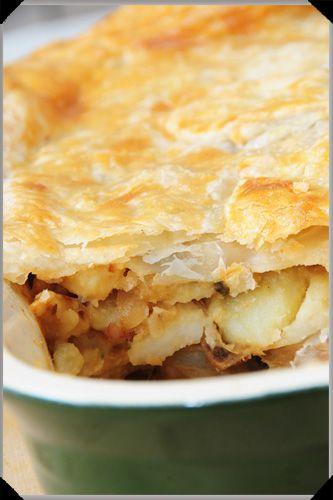Potato, Cheese and Mushroom Pie in puff pastry