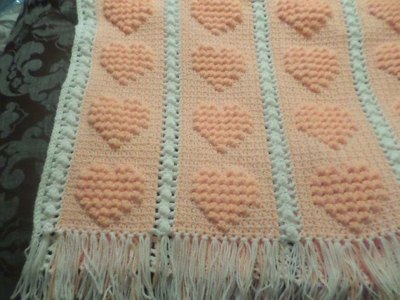 Crochet Granny Square Baby Afghan Patterns : Crochet Baby Blanket/Afghan, Peach, Heart Pattern - READY ...