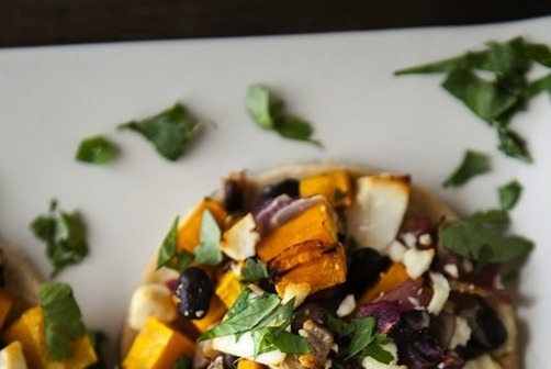 Butternut squash, black bean and goat cheese tostada