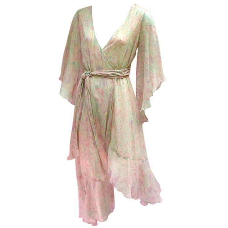 70'S SILK BOHO WRAP DRESS