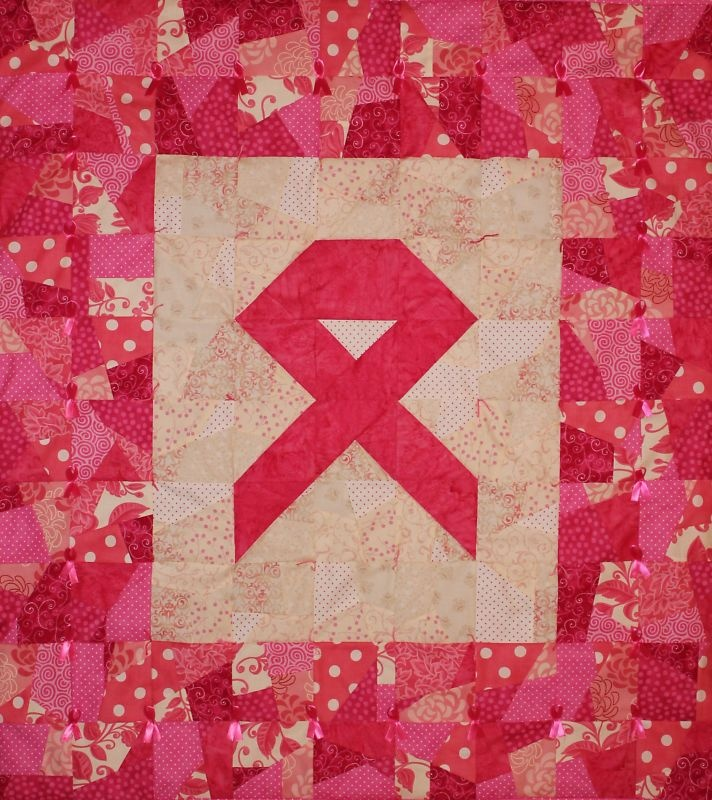 PINK Ribbon Wallhanging QUILT Kit,Sew for Breast Cancer
