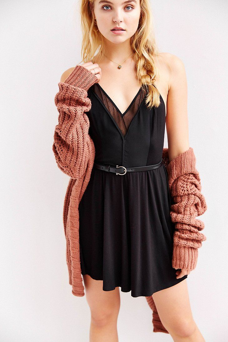 COPE Knit-Mix Skinny Racerback Fit + Flare Dress