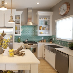 Pop of color subway tile and white cabinets- fresh, bright, clean and crisp.. Everything a good morning is made of! ;)