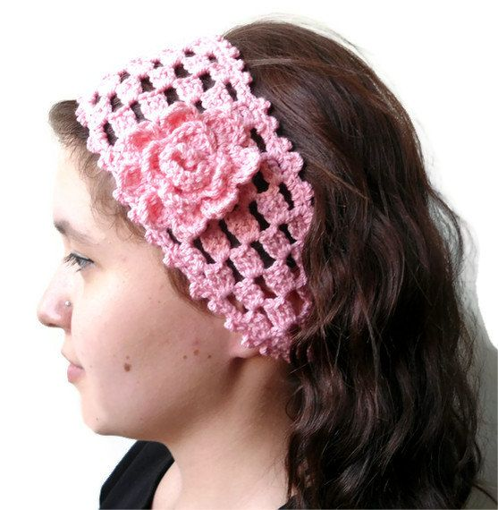 Unique Crochet Hair Styles : pink crochet headband hair accessories gift by likeknitting, $14.99