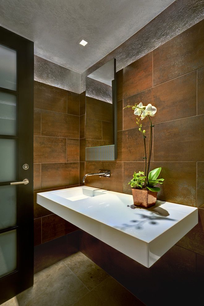 wood wall tiles Powder Room Pinterest