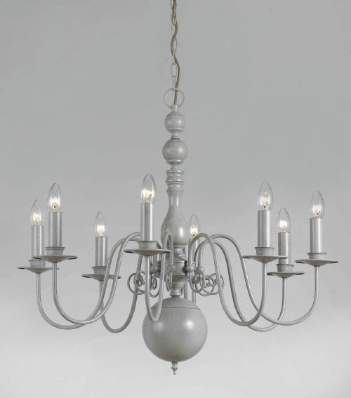 grey painted chandelier (mine is more french)