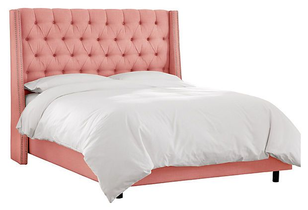 If I ever live alone, I'm getting this bed.   Sophia Wingback Bed, Rose on OneKingsLane.com