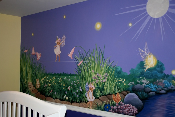 Fairy mural kids mural pinterest for Fairy garden wall mural