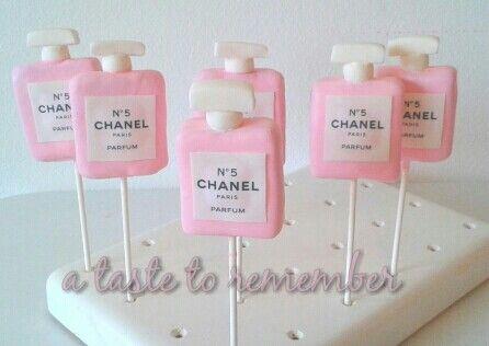Chanel perfume bottle cake pops.