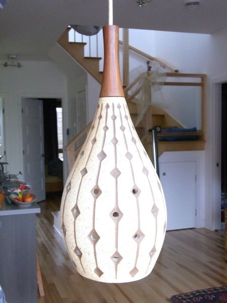 Kijiji lampe suspendue teck vintage teak pendant lamp ceramic