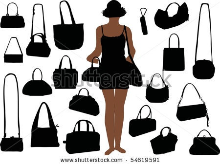 stock vector : illustration with handbag silhouettes isolated on white background