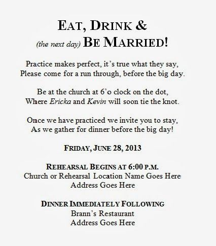 Wording For Rehearsal Dinner Invitations