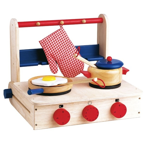 Wooden table top cookers kitchen play side dishes for Play kitchen table