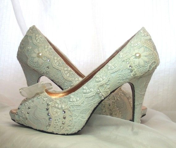 Pale Blue Lace Wedding Shoes #lace shoes #blue wedding shoes #blue lace heel #vintage lace shoe