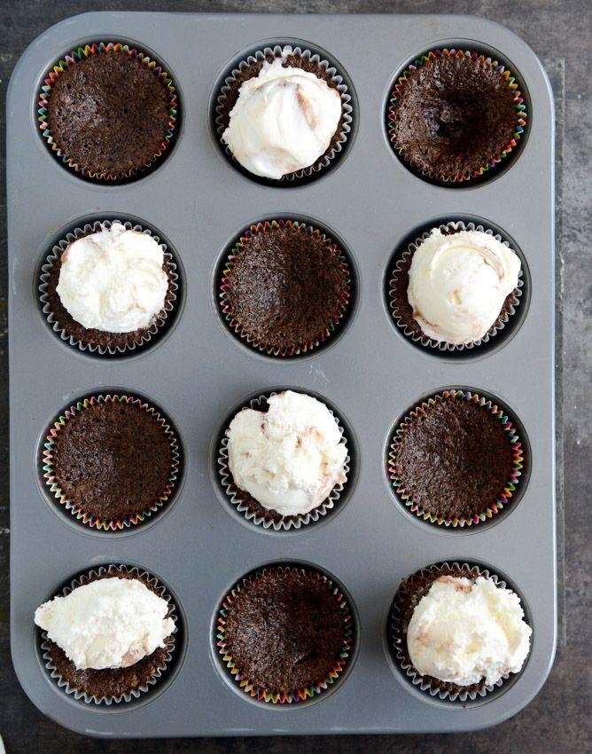 Fudge Brownie and Coconut Ice Cream Cupcakes I howsweeteats.com
