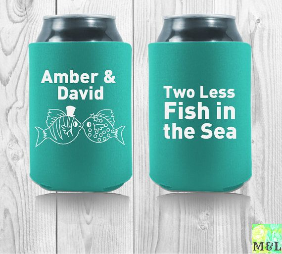 Personalized two less fish in the sea wedding koozies for Two less fish in the sea
