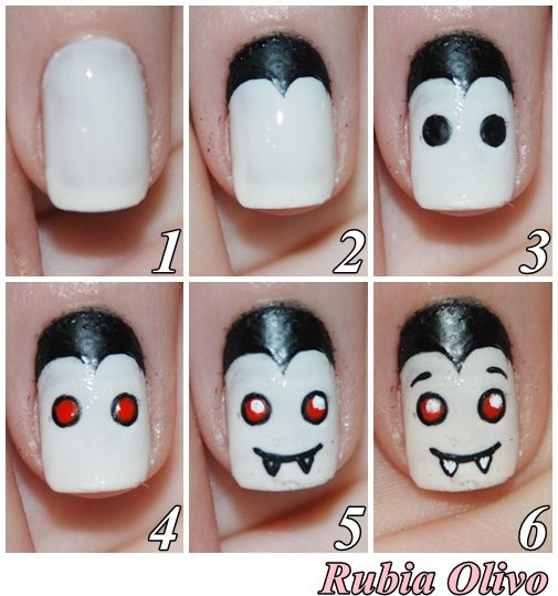 Rubia Olivo: Tutorial: Halloween Nail Art -vampire nails - you could improv the eyebrows to look more sinister