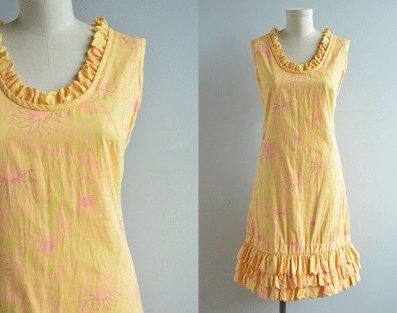 vintage lilly pulitzer dress 1960s ruffled sundress pale