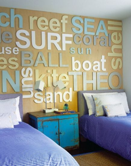 Beach house bedroom wall. You could use so many different ways, sports team names, words that apply to your hobby, names of movies in a tv room, your favorite vacation places - wow, endless possibilities.