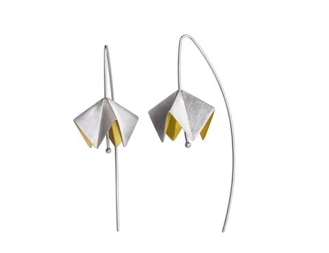 Anne Bader, Germany: (Auri Jewellery) 'Calotta' earrings, silver & partly gilded