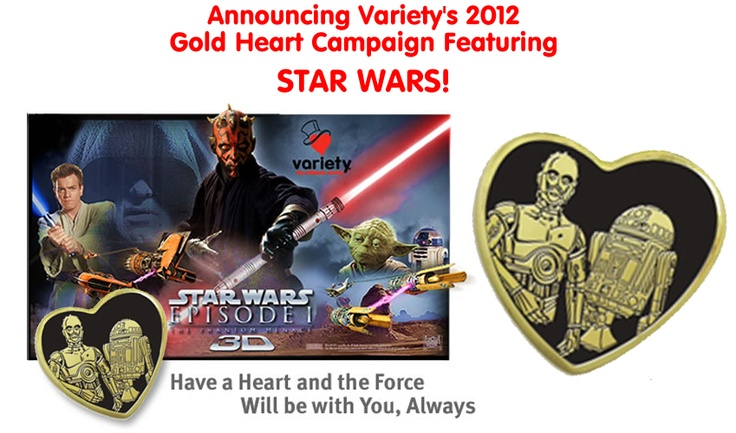 Donate $3 & receive a Star Wars Gold Heart Pin.  All proceeds benefit children with special needs!